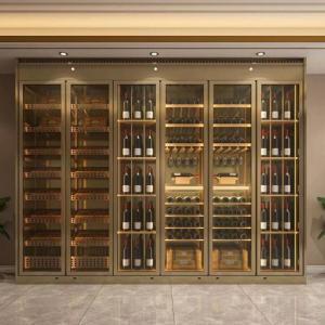 恒温酒柜一体靠墙现代定制简约餐边柜不锈钢红酒柜实木定制隔断柜