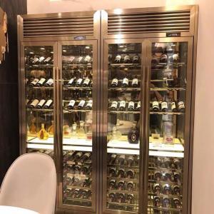现代轻奢不锈钢全屋定制恒温酒柜一体靠墙玻璃门格子置物架